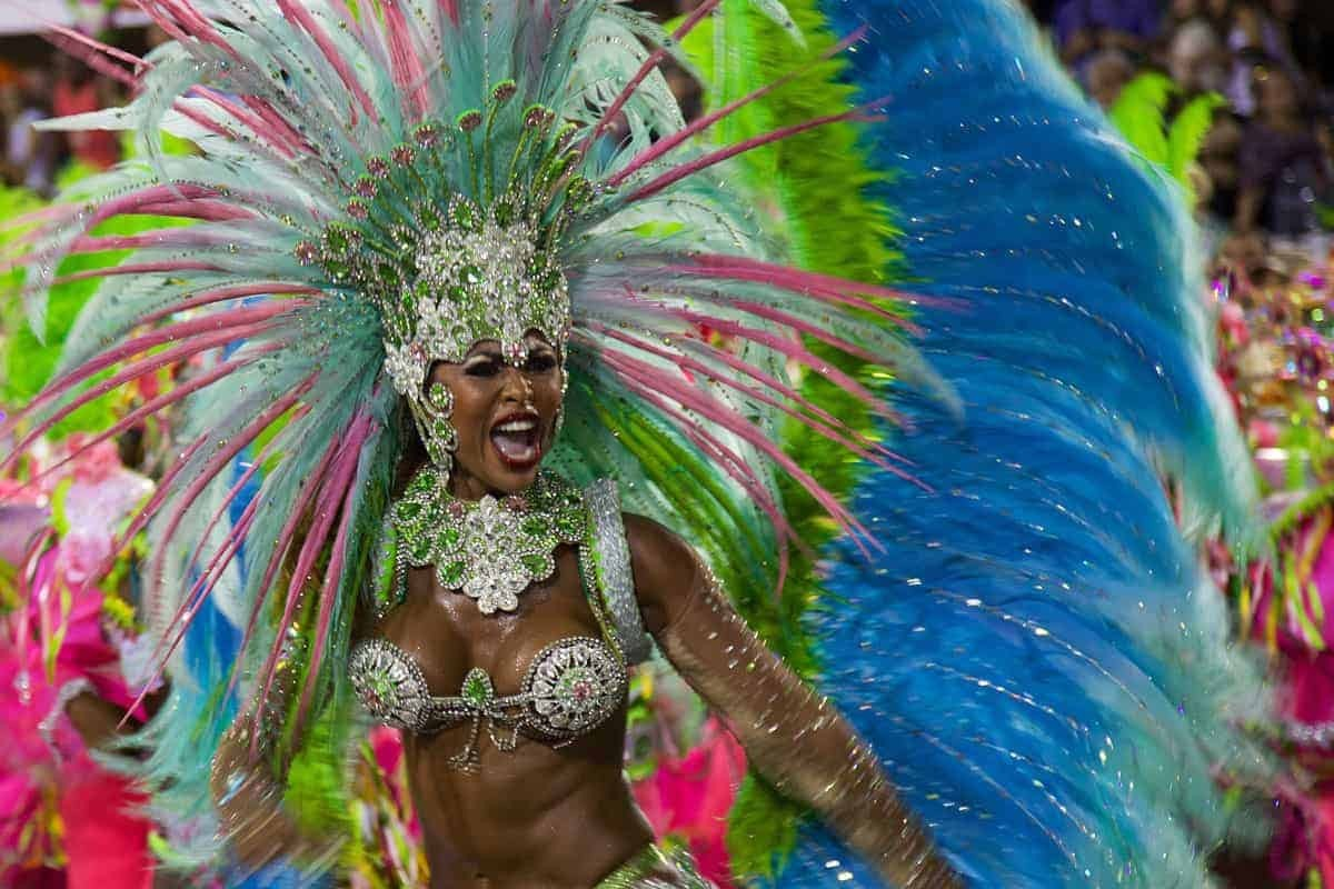 A decorated lady at carnaval in Brazil