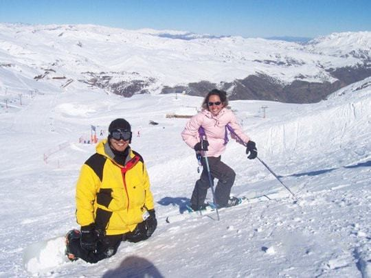 A Couple Are Attempting to Ski in Valle Nevada, Chile