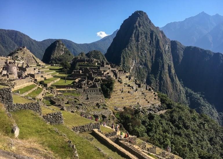 Machu Picchu complex and Huayna Picchu Mountain.
