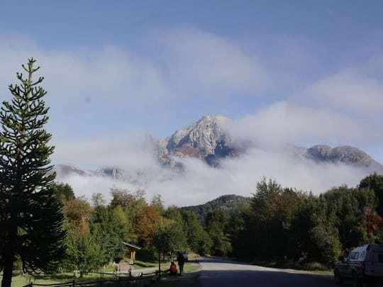 A Mountain Half-Hidden By Mist in Bariloche