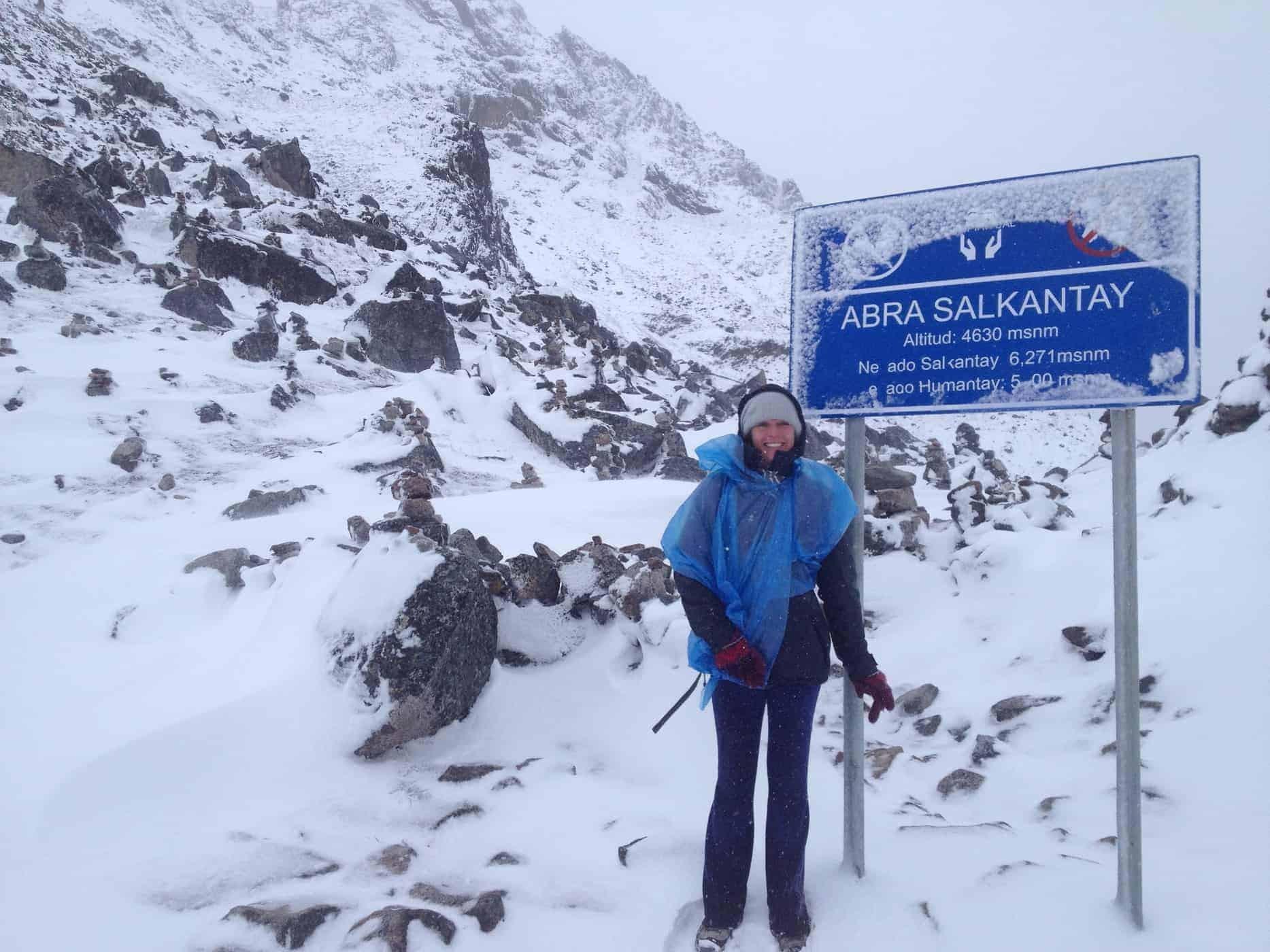 A trekker at the Salcantay Pass, Cusco, Peru.