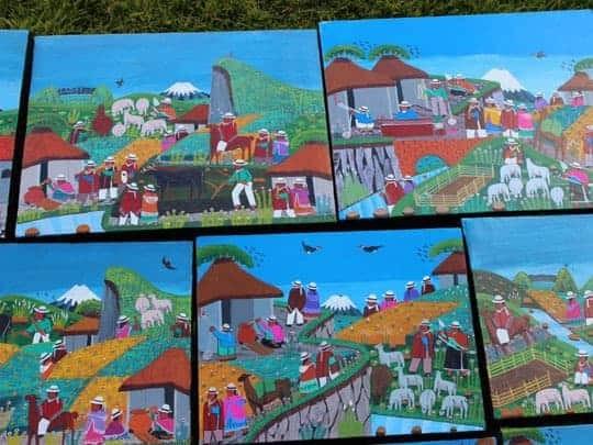 Colorful Tigua Paintings, Ecuadorian Art