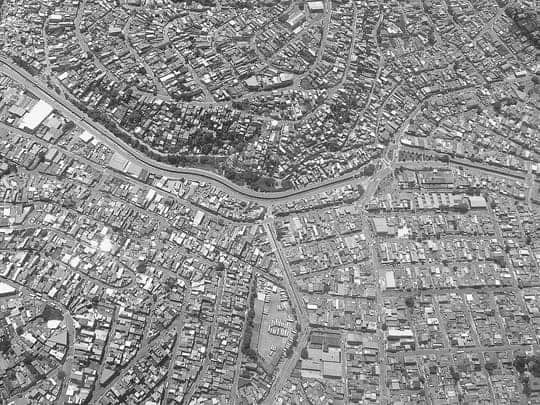 A Black & White Photo of Sao Paulo Taken From The Plane
