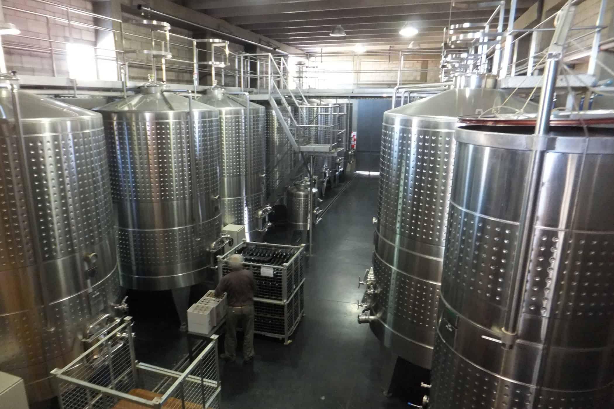 Huge vats of wine at Tempus Alba, Mendoza.