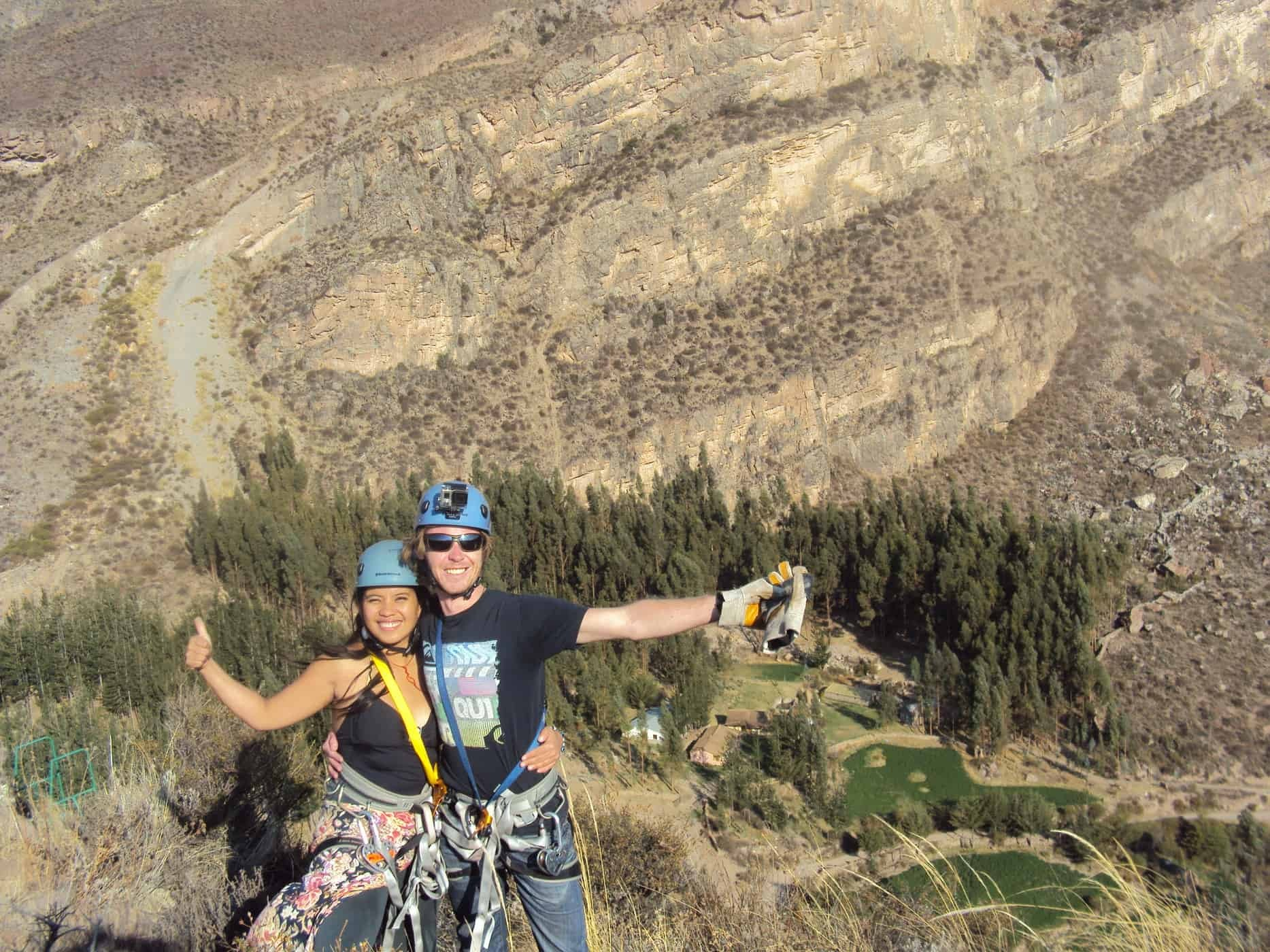 Zip Lining in Colca Canyon, Peru.