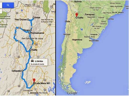 A Map of The Route Through Salta, Jujuy and Tucuman