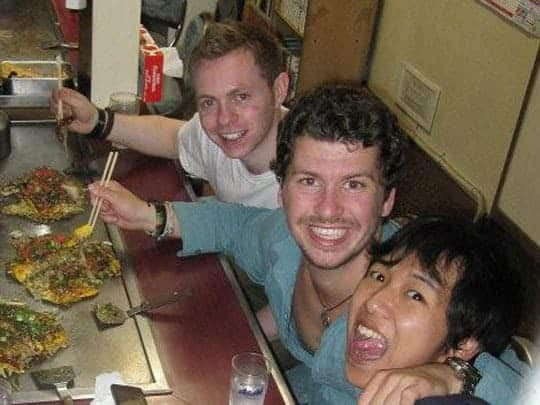 The Author Eating Out In Japan With Two New Friends