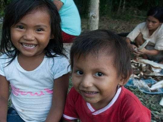 Two Children Smile At The Camera in Shipetriari