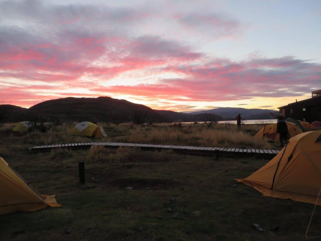 Sunrise at Paine Grande Campsite