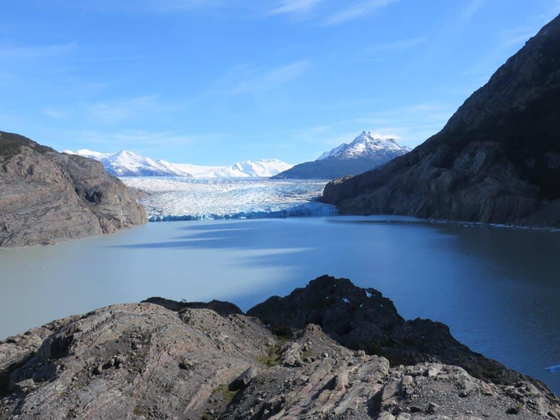 View of Glacier Grey from Glacier Grey Camp Site.