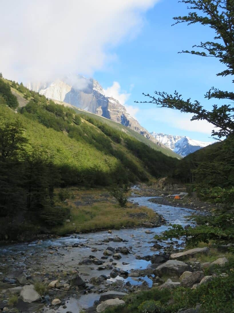 Looking back up the trek to Torres Del Paine.