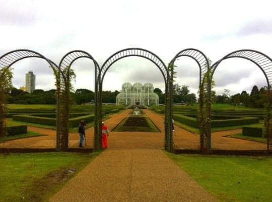 The Botanical Gardens, Curitiba, With The Famous Greenhouse in the Background