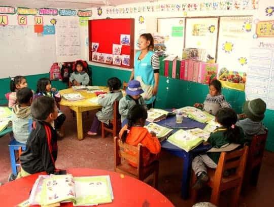 In The Classroom At The Chicos De Cusco School