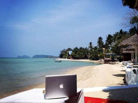 A Laptop On The Beach