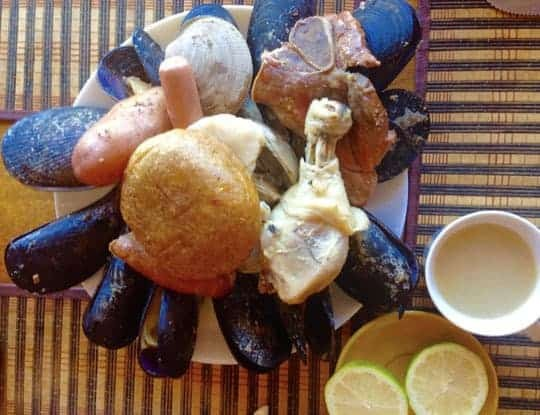 A Mix of Seafood and Meat on a Plate in Puerto Natales, Chile
