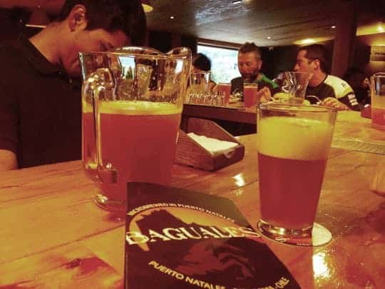 Craft Beer Served in a Bar in Puerto Natales, Chile