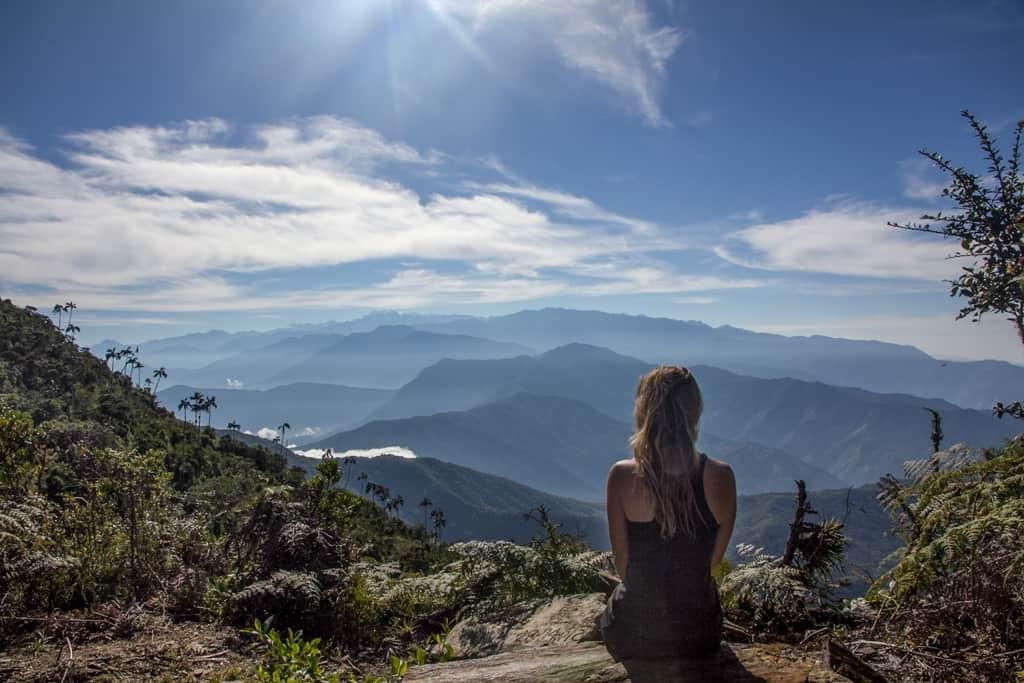 Girl overlooking Colombian mountain scenery