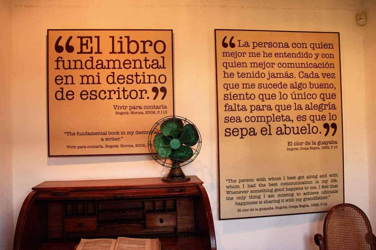 Gabriel Garcia Marquez quotes on the wall of his home in Aracataca