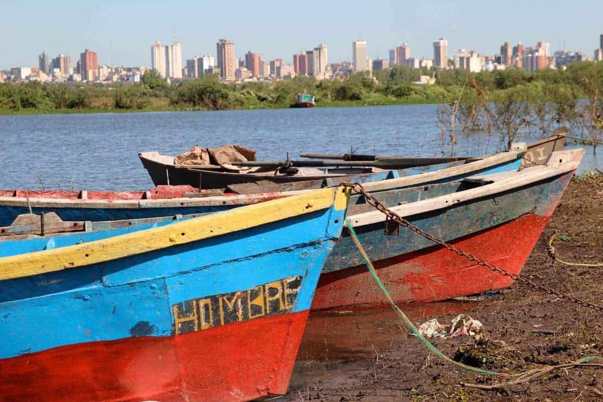 Boats at the shore in Asunción, Paraguay