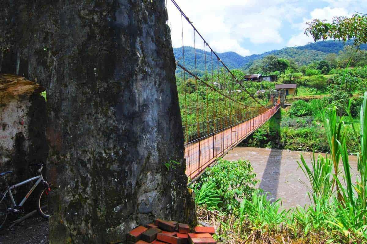 A suspension bridge at Baños, Ecuador