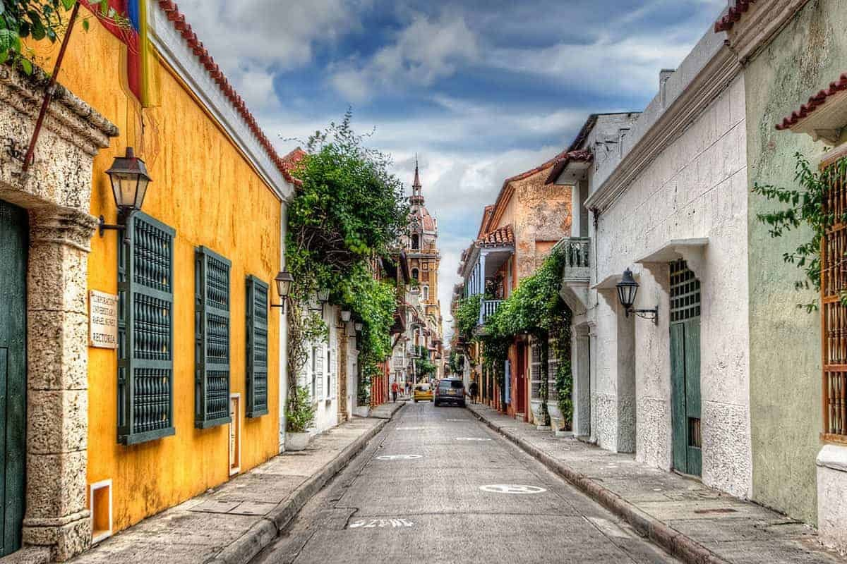 Colourful colonial street in Cartagena, Colombia