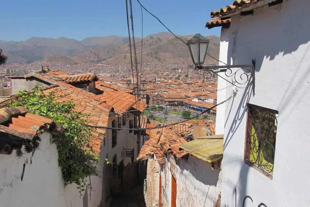 White houses with tile roofs, Cusco, Peru