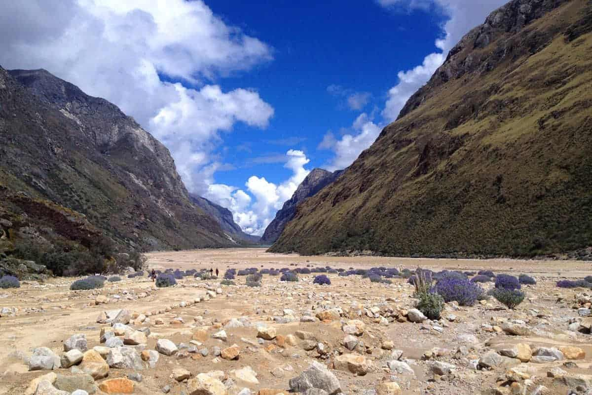 A stoney base of a valley in Huaraz