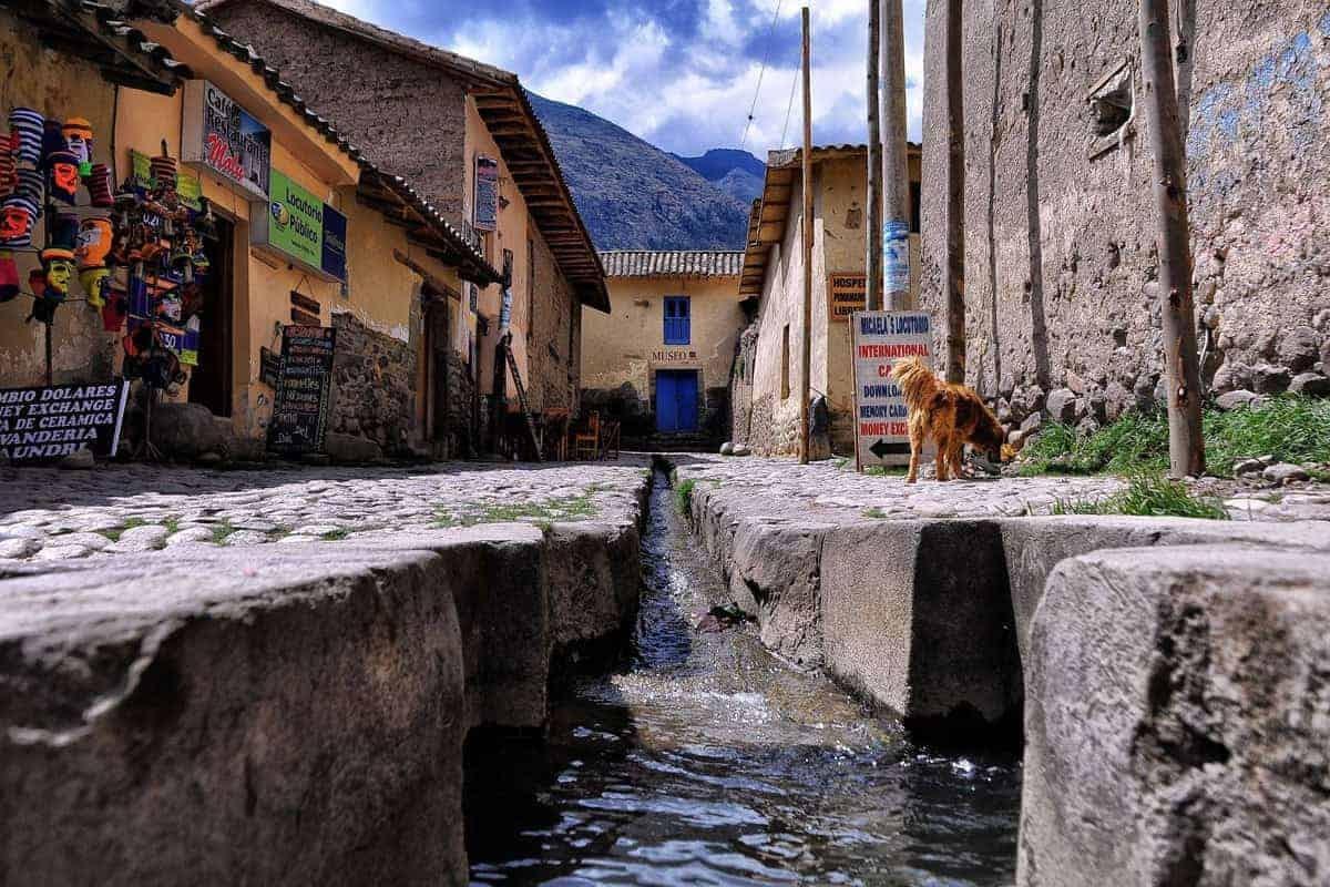 A cobbled street in Ollantaytambo