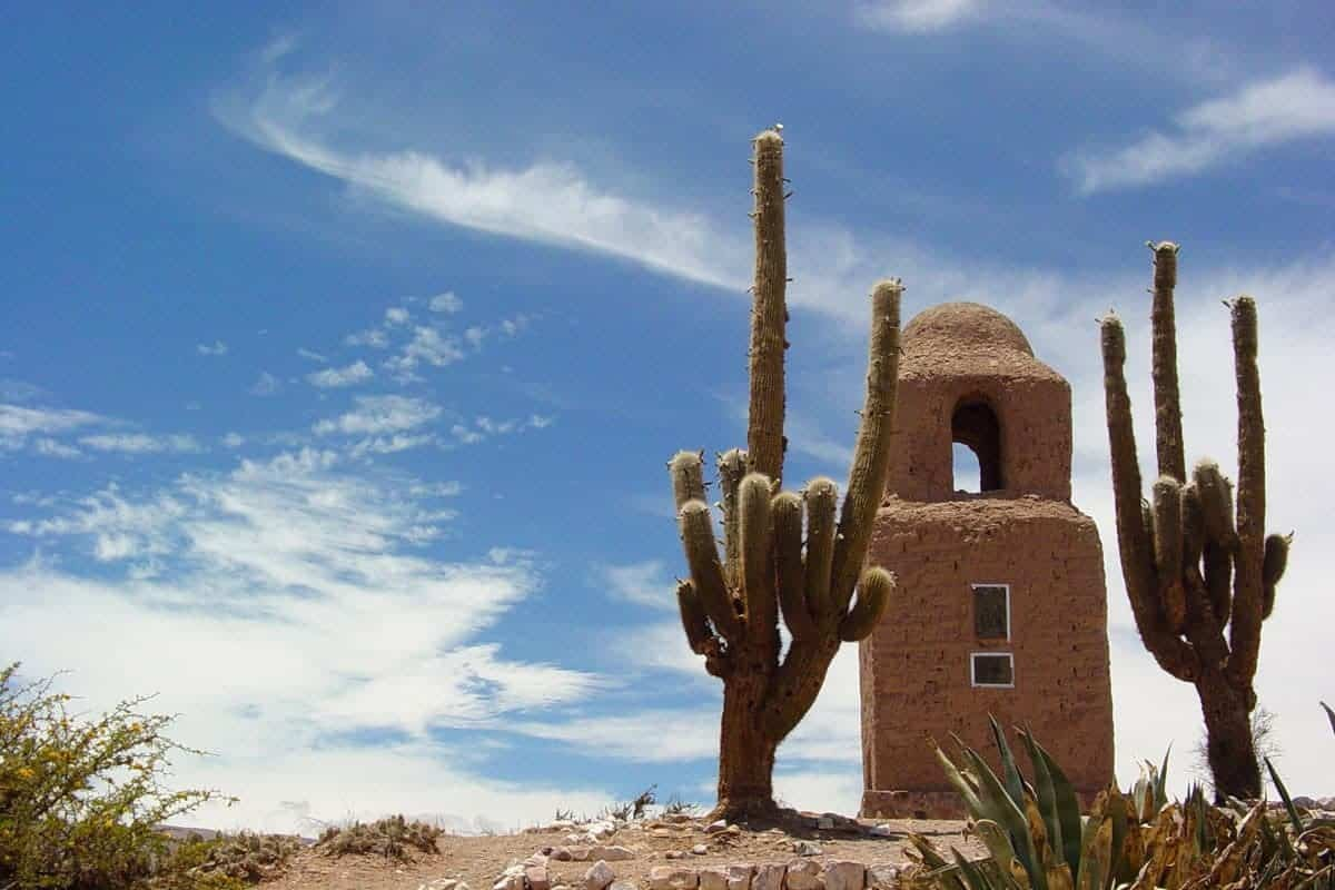 A church tower and a cactus in the desert in Purmamarca, Argentina