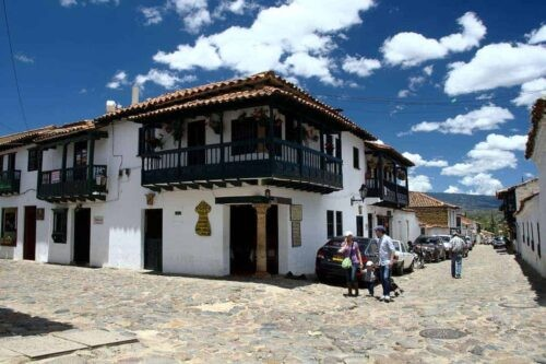 A colonial house on the corner of a quiet street in Villa de Leyva