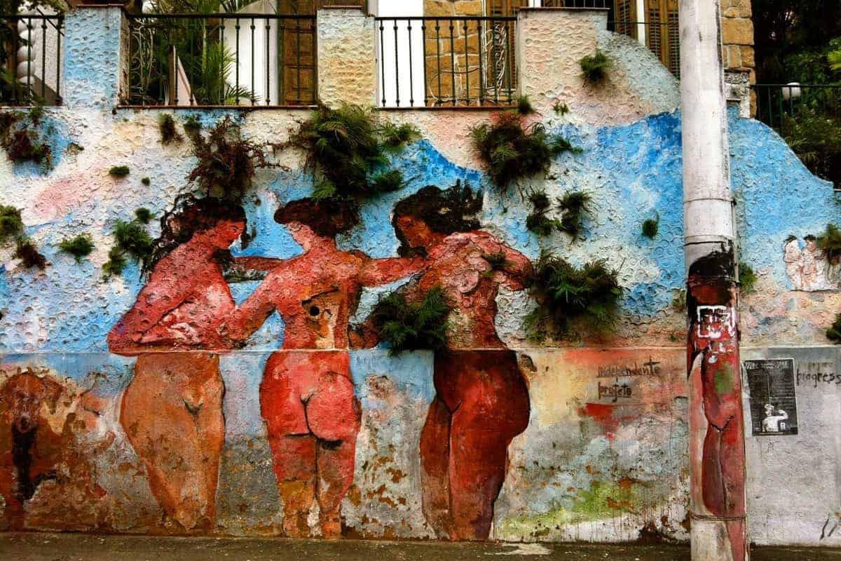 """Naked Ladies"" Graffiti in the bRio neighbourhood of Santa Teresa."