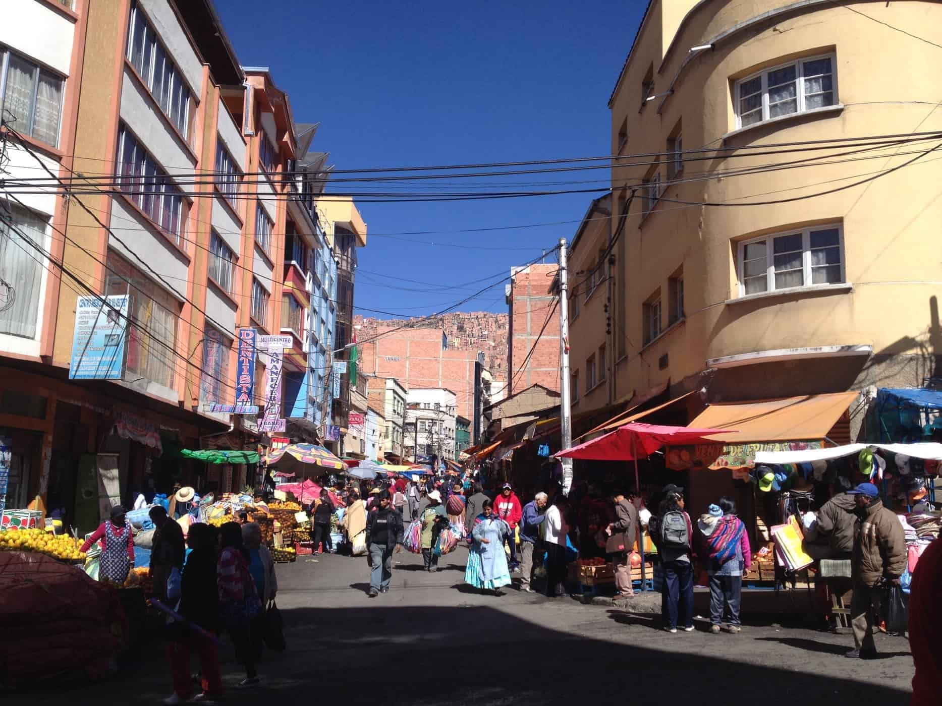 La Paz's busy streets, Bolivia.