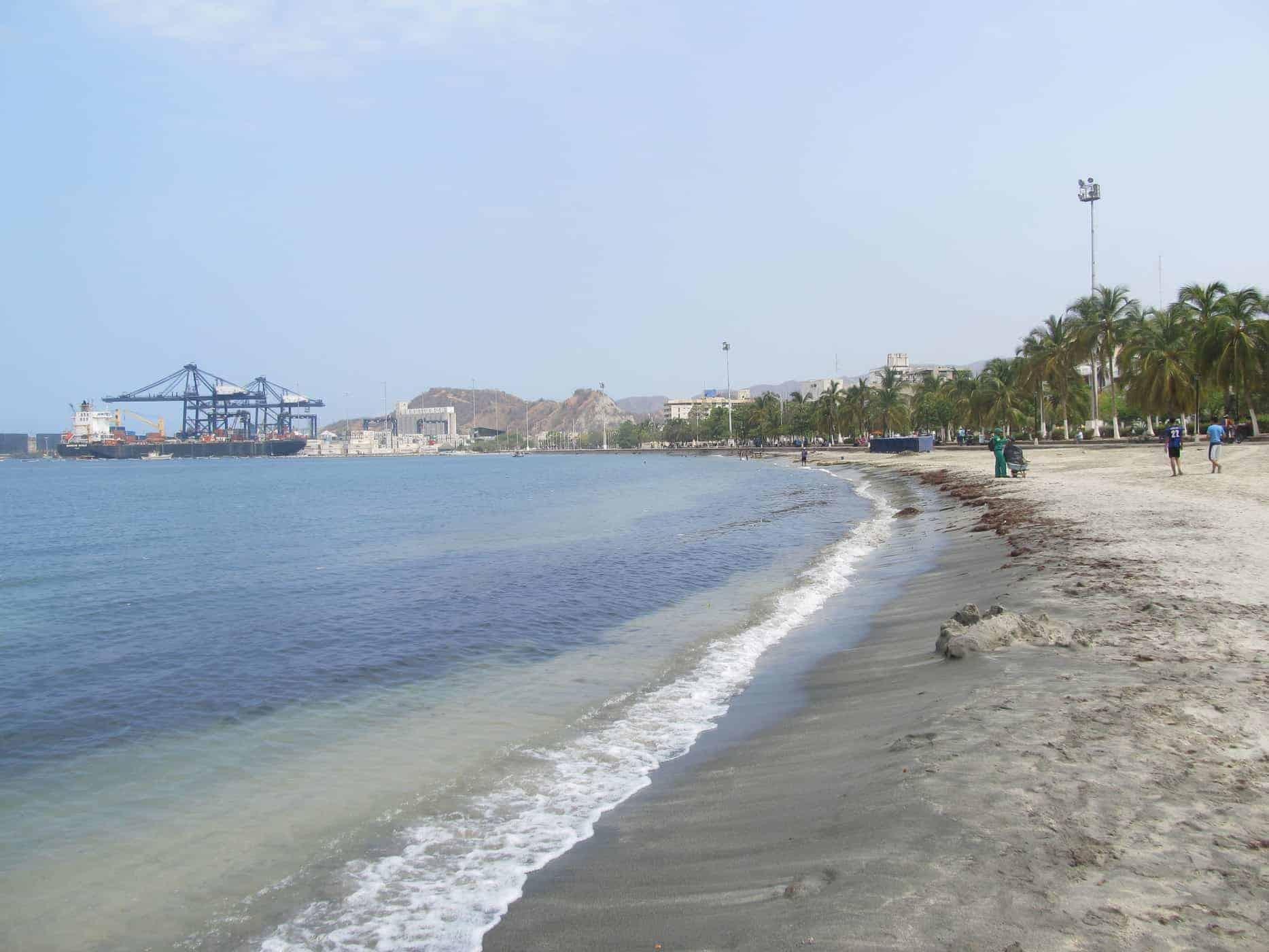 Santa Marta, Colombia Beach in the City Centre.