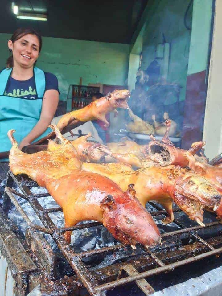 Guinea Pig Roasting at Pisac Market, Cusco, Peru.