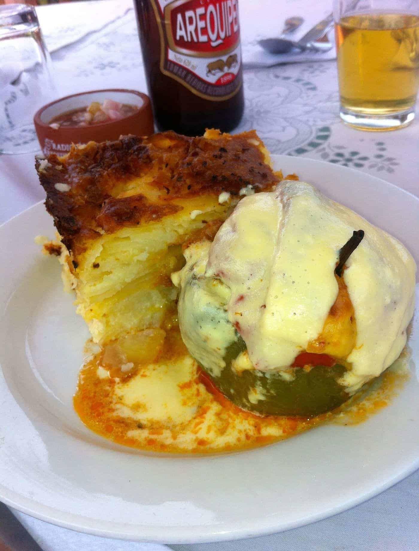 The Peruvian dish Rocotto Relleno at Tradicion Arequipena, Arequipa, Peru.