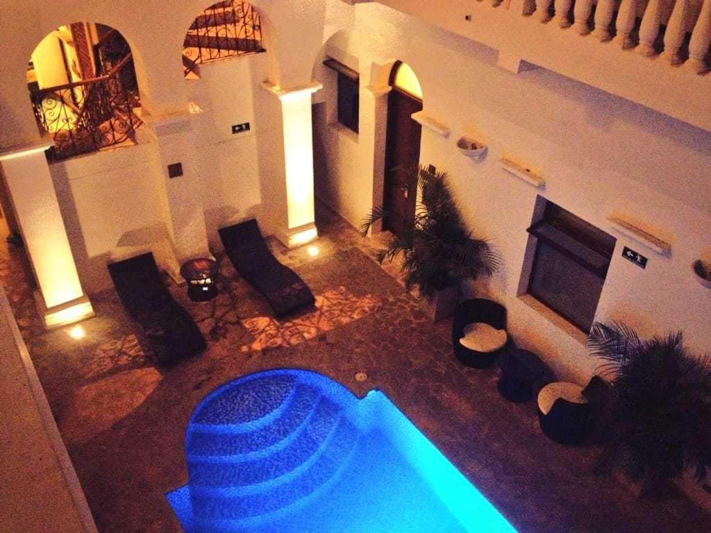 The swimming pool at Masaya Hostel, Santa Marta, Colombia.