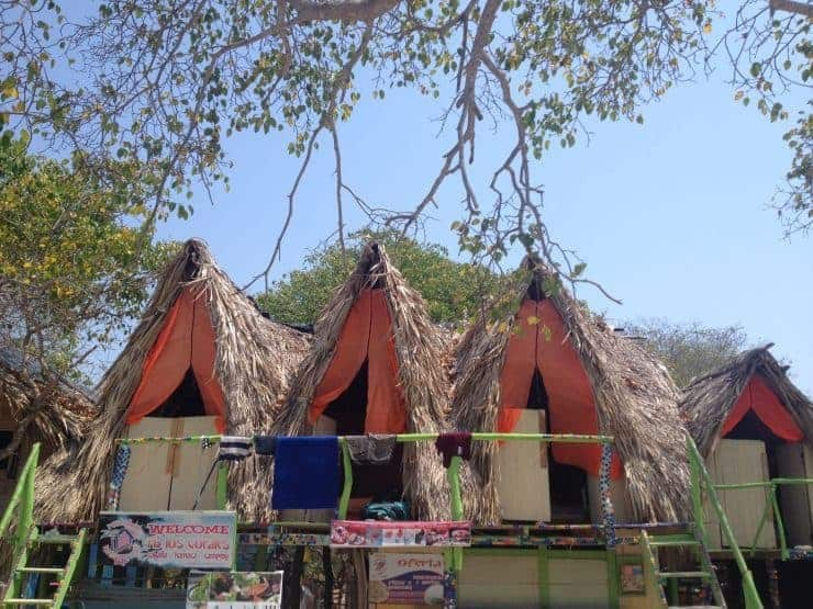 Quirky bungalows at Playa Blanca, Colombia.