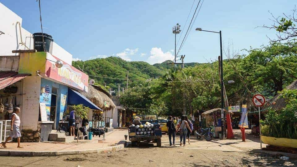 The unpaved streets of Taganga, Colombia.