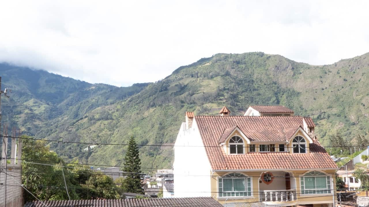 View from the rooftop at Community Hostel, Baños, Ecuador.