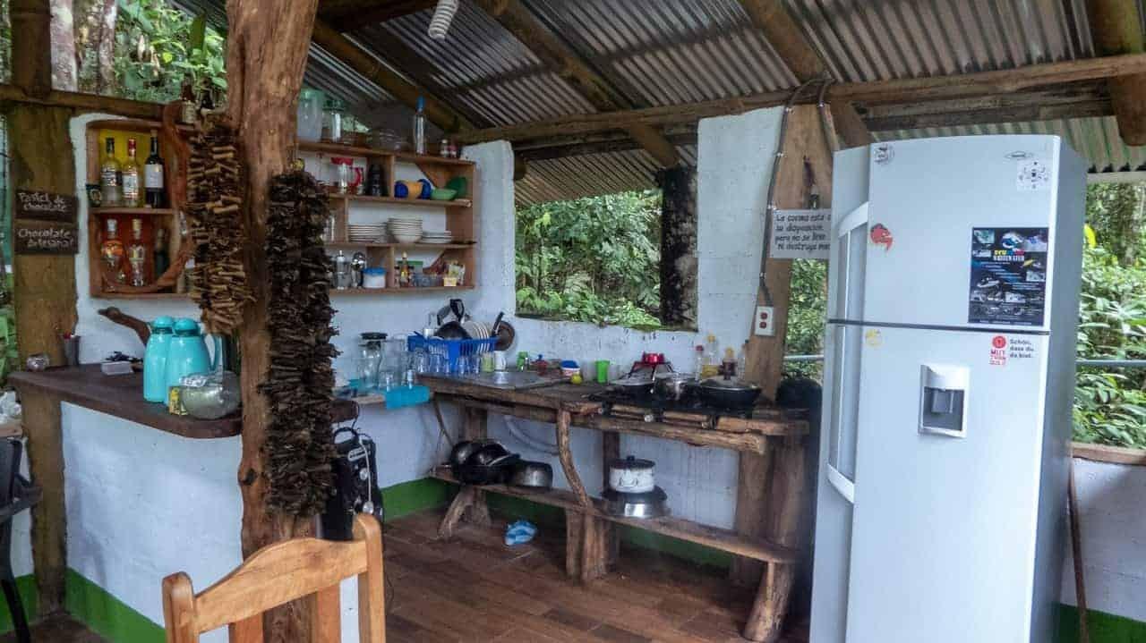 The kitchen at Jungle Roots, Tena, Ecuador.