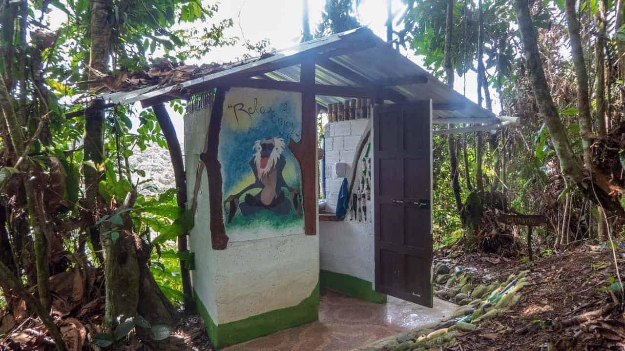 A homemade toilet at Jungle Roots, Tena, Ecuador.