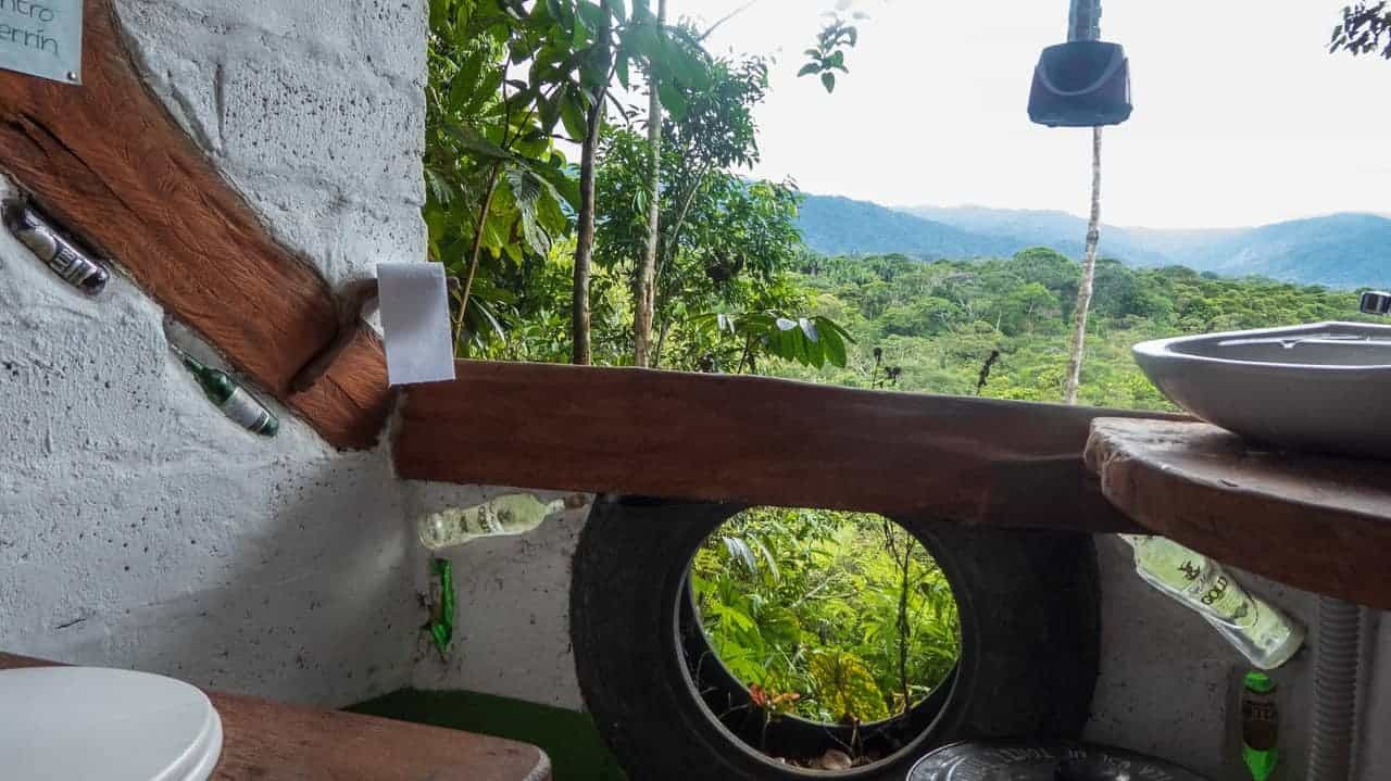 Amazing mountain view from the toilet at Jungle Roots Camping, Tena, Ecuador.