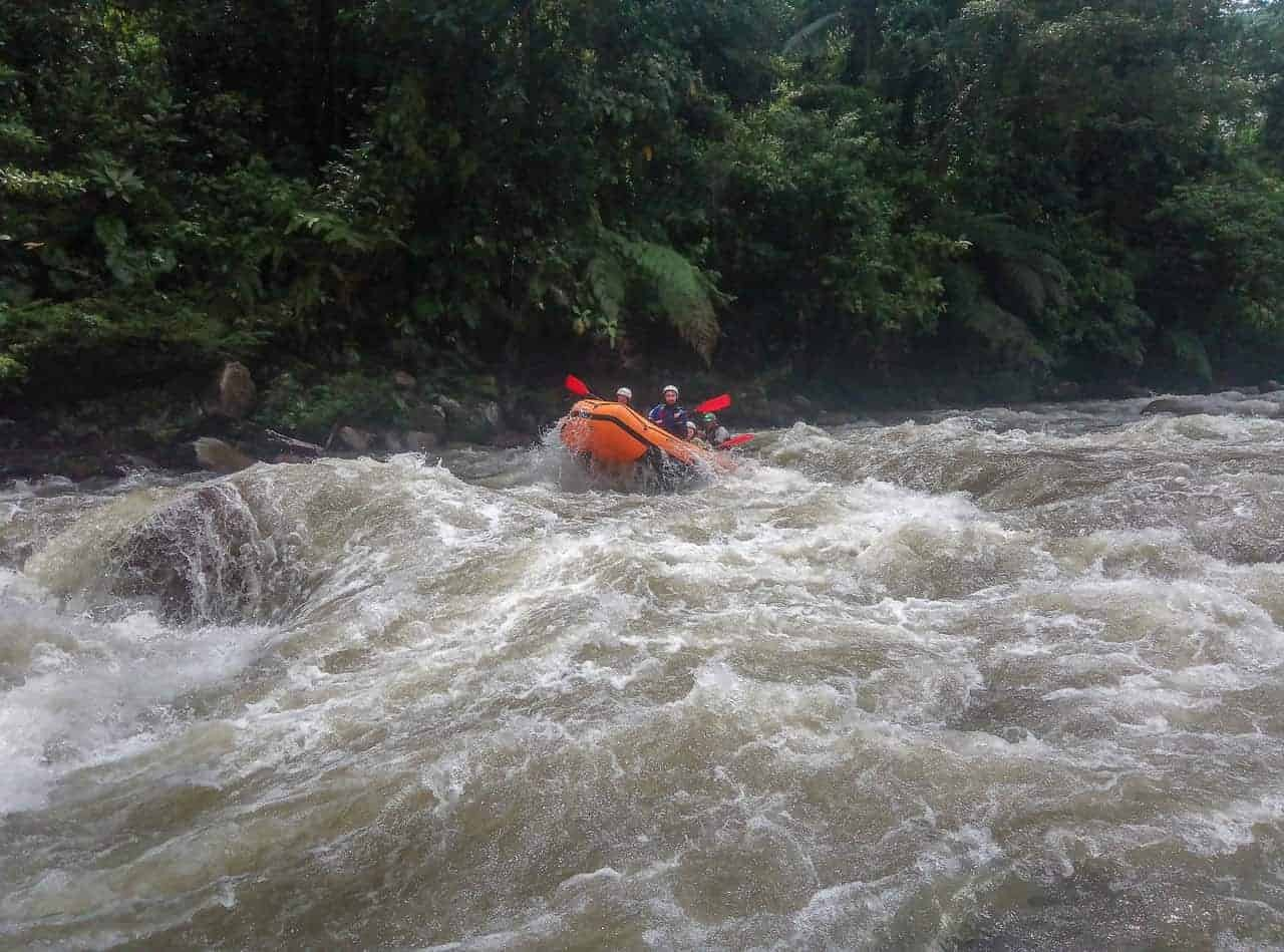 Class IV Rapids. Rafting on the Jondachi-Hollín River, Tena, Ecuador.