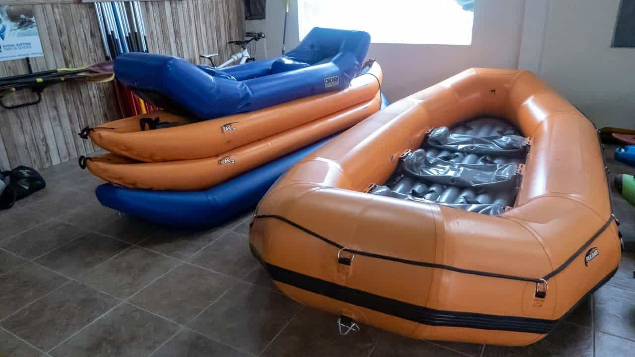 Rafts and inflatable kayaks, also known as 'duckies', Tena, Ecuador