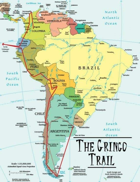 Map of The Gringo Trail, The Most Famous South America Backpacking Route