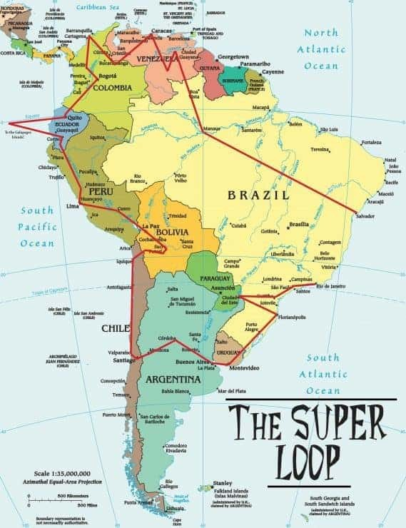 The South America Super Loop Map