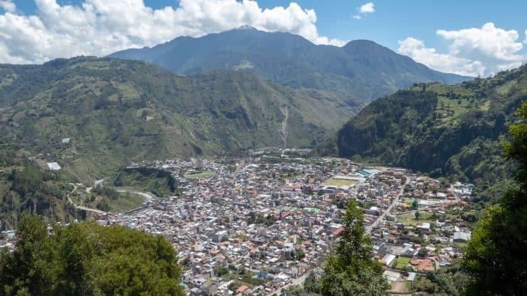 An aerial view of Baños, Ecuador.