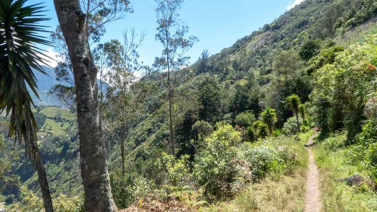 Beautiful hiking trail in Baños, Ecuador.