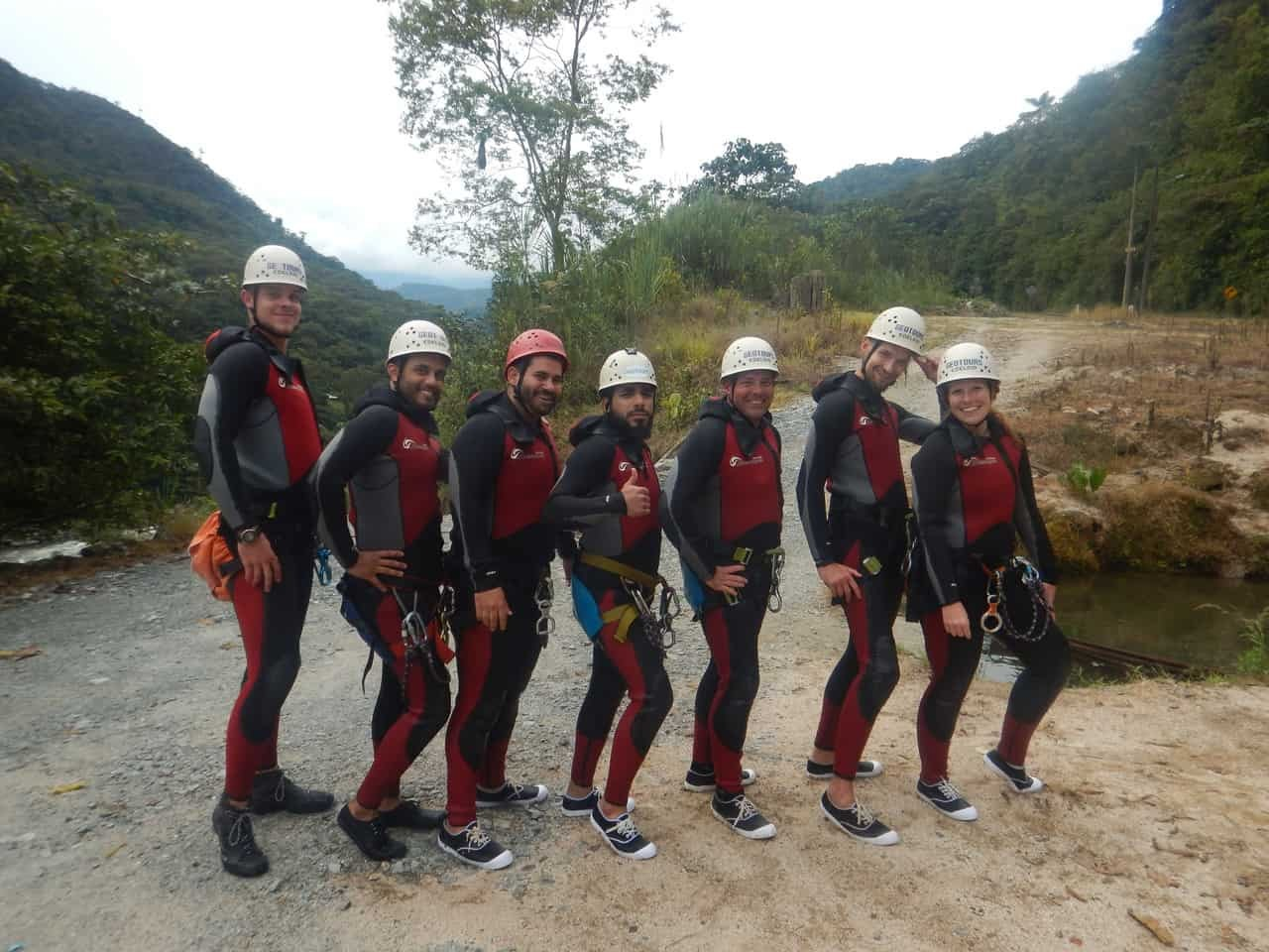 Smiling to a camera before we get wet in the canyons with Takiri Travel, Ecuador