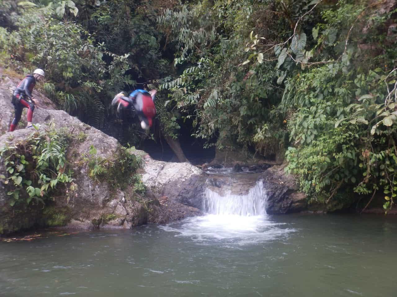 Backflipping into the cool refreshing pool - Takiri Travel, Ecuador